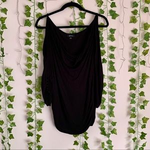 GUESS Black Cold Shoulder Blouse with Ruching